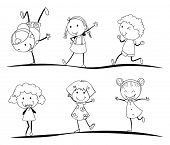 kids activity sketches on a white background