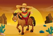 pic of vaquero  - illustration of man and horse in a desert - JPG
