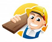 stock photo of overalls  - Illustration of a happy carpenter wearing hard hat and overalls - JPG
