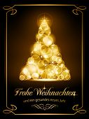 stock photo of weihnachten  - Warmly sparkling Christmas tree made of our of focus  lights on dark brown background with the text  - JPG