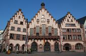 FRANKFURT, GERMANY - AUGUST 22: The Romer Haus (Center) in Romer Square on August 22, 2012 in Frankf