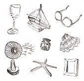 Vector set of vocation icons. Wine glass, boat, sunglasses, fan, shell, picture frame and starfish