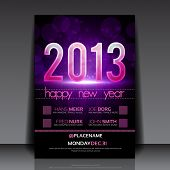 image of comet  - Happy New Year 2013 Purple Vector Editable Flyer Template - JPG