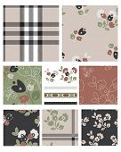 Seamless Floral Plaid Patterns, trims and icons.