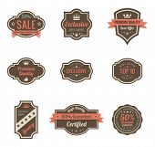 Vintage Labels set. Retro shields and stickers such a logo.  Ribbon and crown. Retro design. High qu