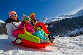 picture of snow-slide  - Winter fun - JPG
