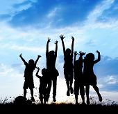 stock photo of boys night out  - Kids jumping together - JPG