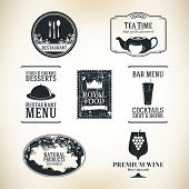 stock photo of kettles  - Label set for restaurant and cafe - JPG