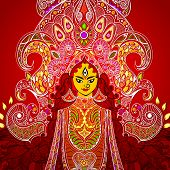 picture of navratri  - illustration of colorful Goddess Durga against abstract background - JPG