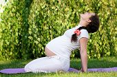 stock photo of pregnancy exercises  - Happy pregnant woman relaxing in the park outdoors - JPG