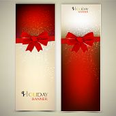 foto of illustration  - Greeting cards with red bows and copy space - JPG