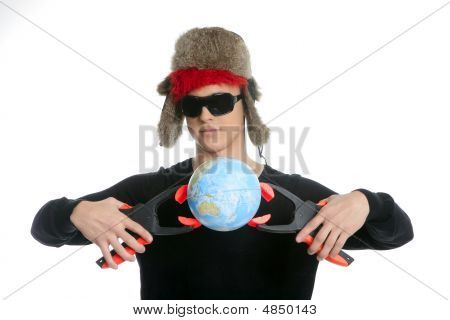 Crazy Student Boy With Global Map Sphere