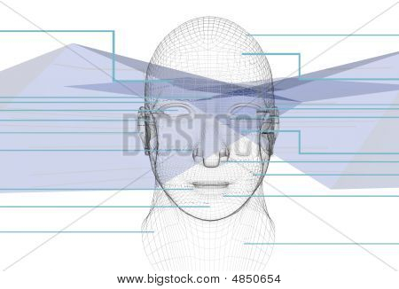 Blue Abstract Background With Head Cybernetics