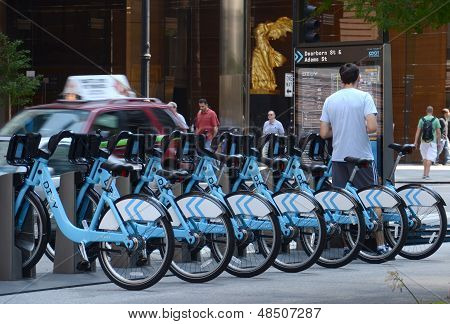 Divvy Bike Rental Station In Downtown Chicago
