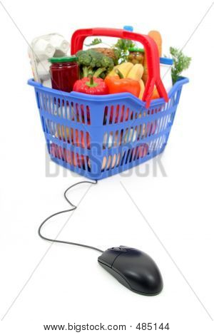 Shopping Basket And Computer Mouse