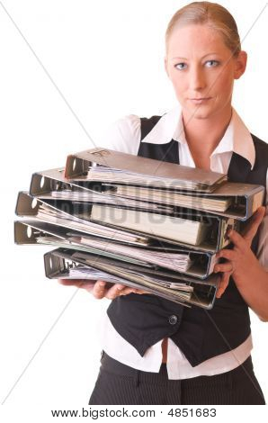 Young Woman With Many Filing Folders