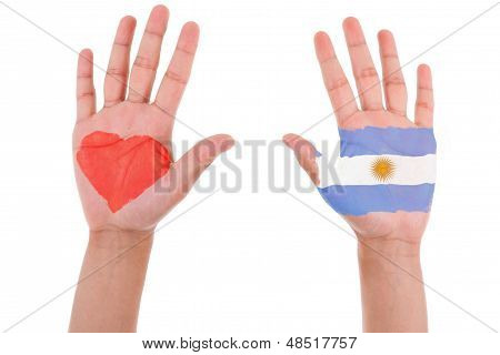 Hands With A Painted Heart And Argentinian Flag, I Love Argentina Concept