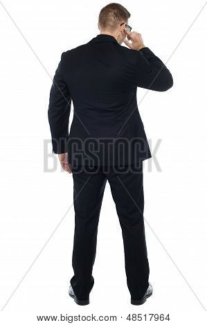 Back Pose Of Young Male Security Person