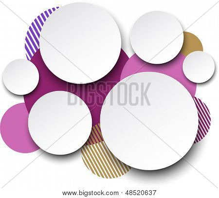 Vector illustration of white paper round speech bubbles over coloful background. Eps10.