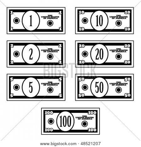 vector fictional black white dollar banknotes