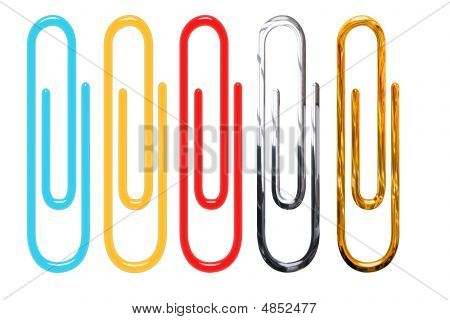 Paper Clips Isolated Over White - Golden, Metallic, Red, Yellow And Blue