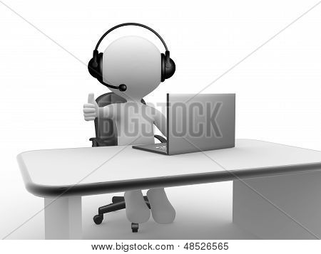 Headphones With Microphone And Laptop.