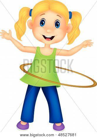 Cute cartoon girl twirling hula hoop