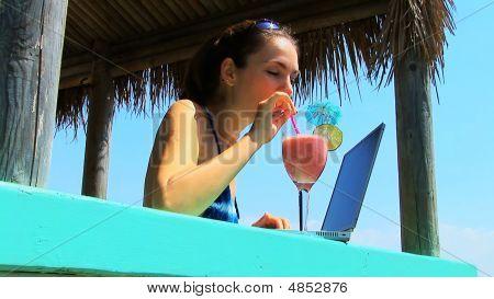 Bikini Woman On Laptop