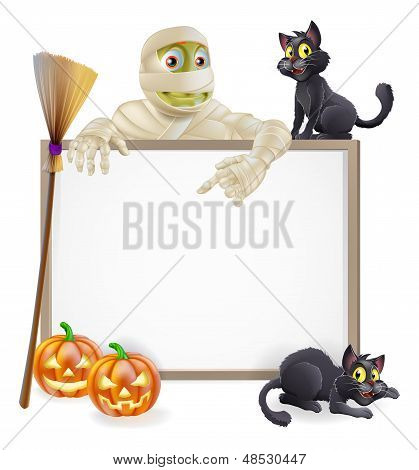 Mummy Halloween Sign