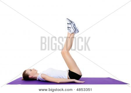 Young Adult Girl Doing Physical Exercises