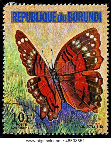 República do Burundi - cerca de 1974: Um selo impresso em Burundi mostra uma borboleta Precis Octavia CR, S