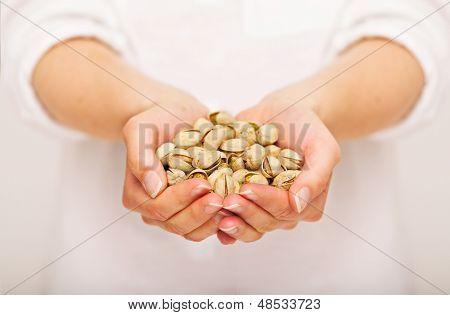 Handful Of Crunchy Pistachio Nuts