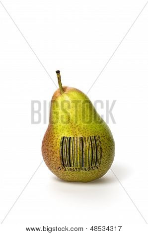 Pear with barcode on a white background