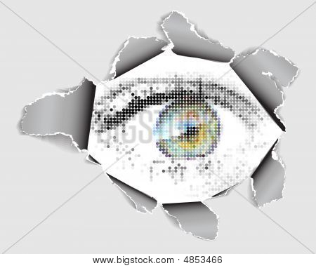 Eye Looking From The Hole