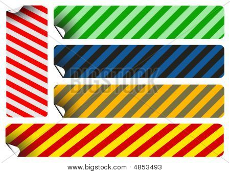 Labels And Stickers With Stripes