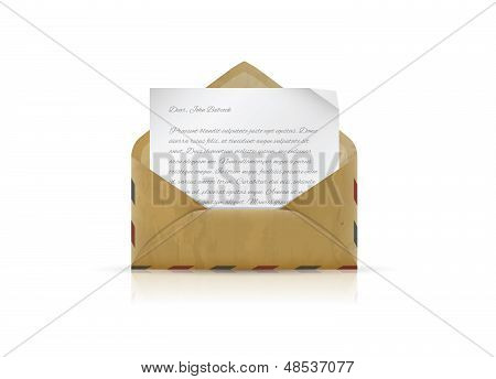 Vintage envelope with paper and text vector