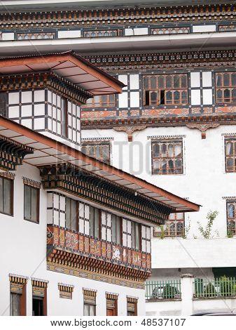 Traditional Architecture Of Bhutanese Houses, Thimphu - Bhutan