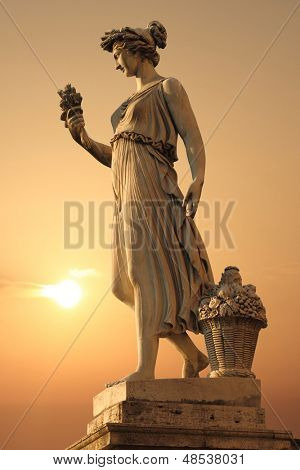 Goddess of abundance statue in Piazza del popolo