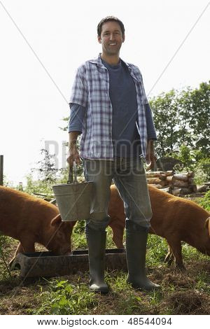 Full length portrait of a smiling man feeding pigs in sty