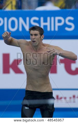 Jul 26 2009; Rome Italy; Michael Phelps cheers on his team mate in  the mens 4 x 100m freestyle final at the 13th Fina World Aquatics Championships