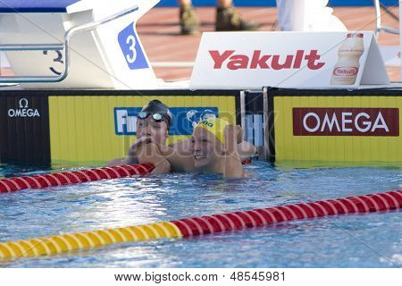Jul 26 2009; Rome Italy; Sarah Sjostrom (SWE)celebrates breaking the world record while competing in the womens 100m butterfly semi finals at the 13th Fina World Aquatics Championships