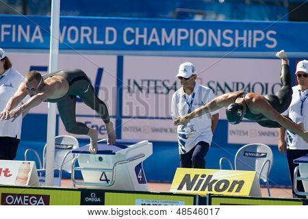 Jul 27 2009; Rome Italy; Kvetoslav Svoboda (CZE) left and Pholien Systermans (BEL) competing in the mens 200m freestyle at the 13th Fina World Aquatics Championships