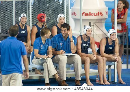 Jul 23 2009; Rome Italy;  The USA team bench during the preliminary round of the women's waterpolo competition between USA and Greece at the 13th Fina World Aquatics Championships