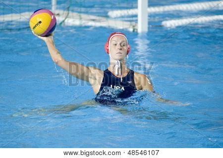 Jul 29 2009; Rome Italy; USA team goalkeeper Elizabeth Armstrong competing in the waterpolo semi final match between USA and Greece USA won the match 8-7, at the 13th Fina World Aquatics Championships