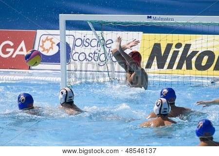Jul 26 2009; Rome Italy;  a shot on the German goal during the waterpolo match between Germany and Montenegro at the 13th Fina World Aquatics Championships