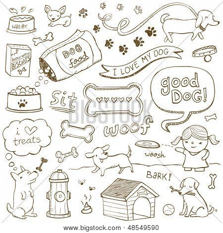 Dogs and dog accessories illustrated in a doodled style.