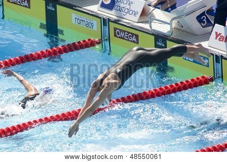 Jul 30 2009; Rome Italy; Dagney Knutson (USA) competing in the qualifying rounds of the womens 200m freestyle at the 13th Fina World Aquatics Championships held in The Foro Italico Swimming Complex.