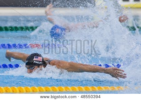 Jul 02 2009; Rome Italy; Michael Phelps (USA) competing in the mens 4 x 100m medley final at the 13th Fina World Aquatics Championships held in the The Foro Italico Swimming Complex.