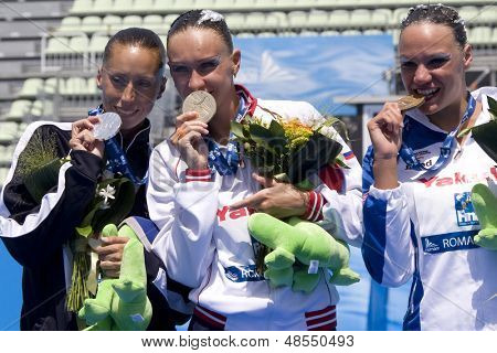 Jul 23 2009; Rome Italy; Gemma Mengual (ESP) left Natalia Ischenko (RUS) middle and Beatrice Adelizzi (ITA)  at the 13th Fina World Aquatics Championships at the The Foro Italico Swimming Complex.