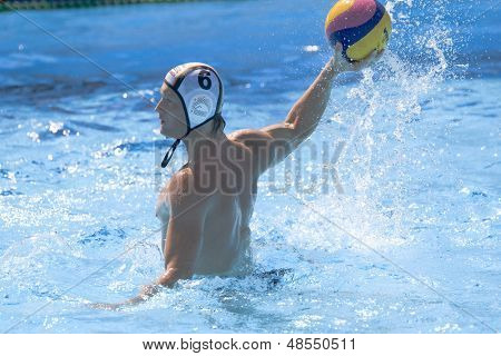 Jul 26 2009; Rome Italy; Germany team player Mark Politze takes a shot at goal while competing in the waterpolo match between Germany and Montenegro at the 13th Fina World Aquatics Championships